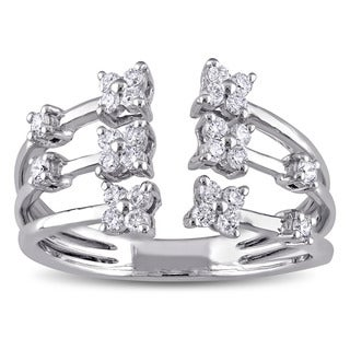 Miadora 14k White Gold 3/8ct TDW Diamond Flower Split-shank Open Ring (G-H, SI1-SI2)