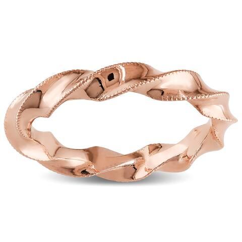 Miadora 18k Rose Gold Twisted Milgrain Wedding Band - Pink