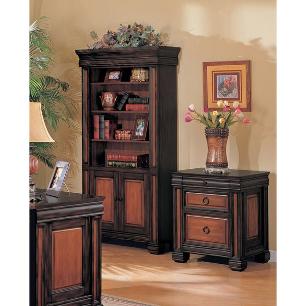 Coaster Company Black & Cherry Finish Wood File Cabinet
