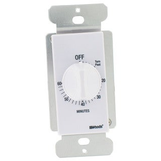 Woods 59717 White 60 Minute In Wall Spring Wound Countdown Timer