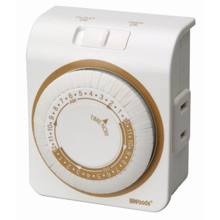 Woods 50004 24 Hour 2 Outlet White Indoor Mechanical Outlet Timer