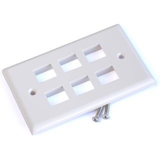 Black Point Products Inc BT-203-WHITE 6 Cavity Category 5 White Keystone Plate