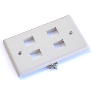 Black Point Products Inc BT-202-WHITE 4 Cavity Category 5 White Keystone Plate