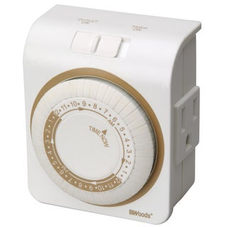 Woods 50001 White 24 Hour Indoor Mechanical Lamp & Appliance Timer