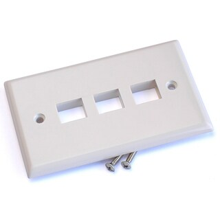 Black Point Products Inc BT-201-WHITE 3 Cavity Category 5 White Keystone Wall Plate