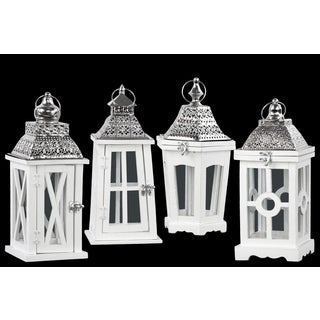 White/Silvertone Wood/Pierced Metal/Glass Assorted Square Lanterns With Ring Hangers (Pack of 4)