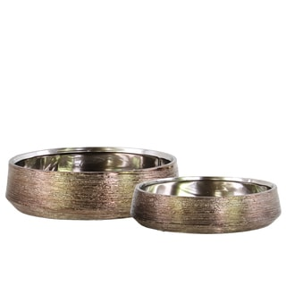 Urban Trends Collection Combed Chrome-Polished Bronze-finished Ceramic Round Pots (Set of 2)