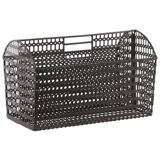Urban Trends Collection Metal Rectangular Dark Taupe Wire Basket with Mesh Body and Cutout Handle