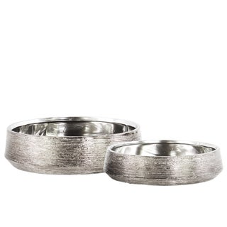 Urban Trends Collection Round Chrome-finished Ceramic Pots (Set of 2)