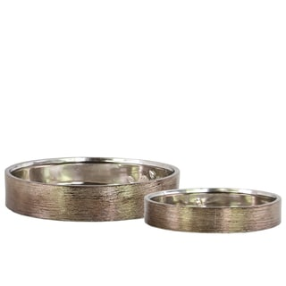 Urban Trends Collection Ceramic Bronze Round Wide Planter Bases (Set of 2)