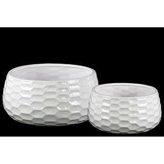 UTC42908: Ceramic Round Bowl-shaped Pot with Honey Comb Design Set of Two Gloss Finish White