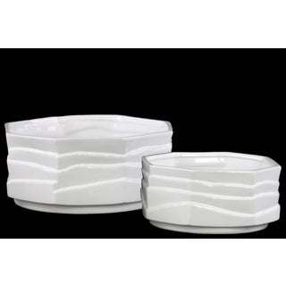 White Gloss Finish Ceramic Octagonal Pot (Set of Two)