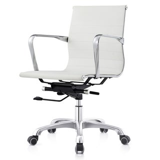 MC505 White Leatherette Ribbed Mid-back Executive Office Chair