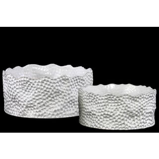 Urban Trends Collection White Ceramic Textured Round Pot Set