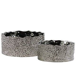 Urban Trends Collection Silver Chrome-finished Ceramic Irregularly Round Pots with Pimpled Design (Set of 2)