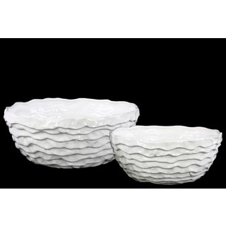 Urban Trends Collection White Ceramic Irregularly Round Gloss-finish Wrinkled Pots (Set of 2)