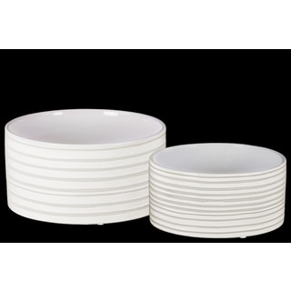 Glossy Combed Finish White Ceramic Round Pot (Set of 2)
