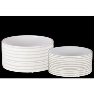 Glossy Combed Finish White Ceramic Round Pot (Set of 2)