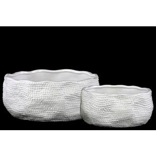 Urban Trends Collection White Ceramic Irregularly Shaped Planter (Set of 2)
