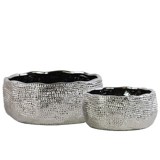 Urban Trends Collection Pimpled Chrome-polished Silver-finished Ceramic Irregularly Round Pots (Set of 2)