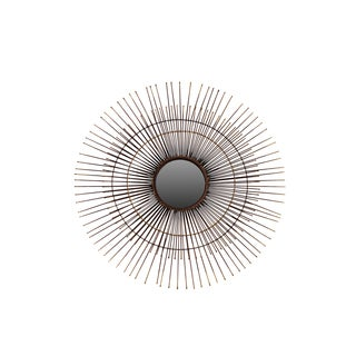 Urban Trends Collection Bronze Metal Round Wall Mirror with Sunburst Design