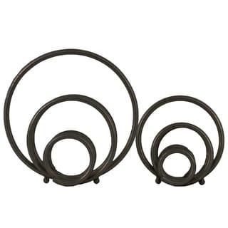 Set of Two Metallic Finish Black Metal Round Abstract Design Sculptures