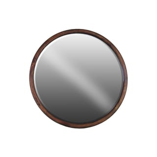 Brown Wood Round Natural Finish Wall Mirror