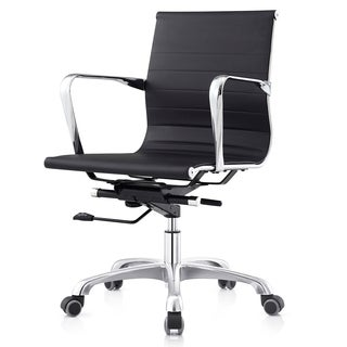 Black Leatherette Ribbed Mid-back Executive Office Chair