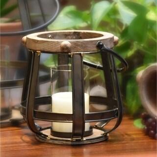 Natural Finish Brown Wood Round 2-piece Lantern Set