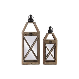 Brown Natural-finish Wood Square Lantern with Ring Handle and Cross Body Design (Set of 2)