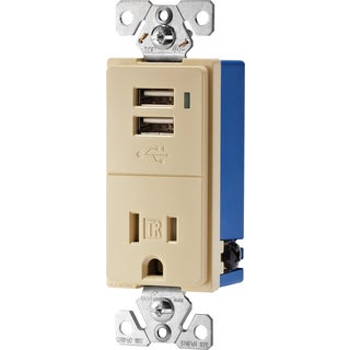 Cooper Wiring Devices TR7740V-K Ivory USB Tamper Resistant Receptacle