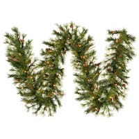 "6' x 9"" Pre-Lit Mixed Country Pine Artificial Christmas Garland - Clear Lights"