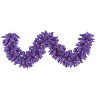 Purple 9-foot Flocked Garland with 100 LED Lights