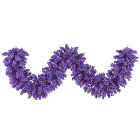 Vickerman Purple 9-feet x 14-inches Flocked Garland with 100 Purple Dura-Lit Lights