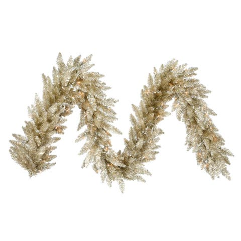 Vickerman Champagne 9-foot x 14-inch Garland With 100 Warm White LED Lights