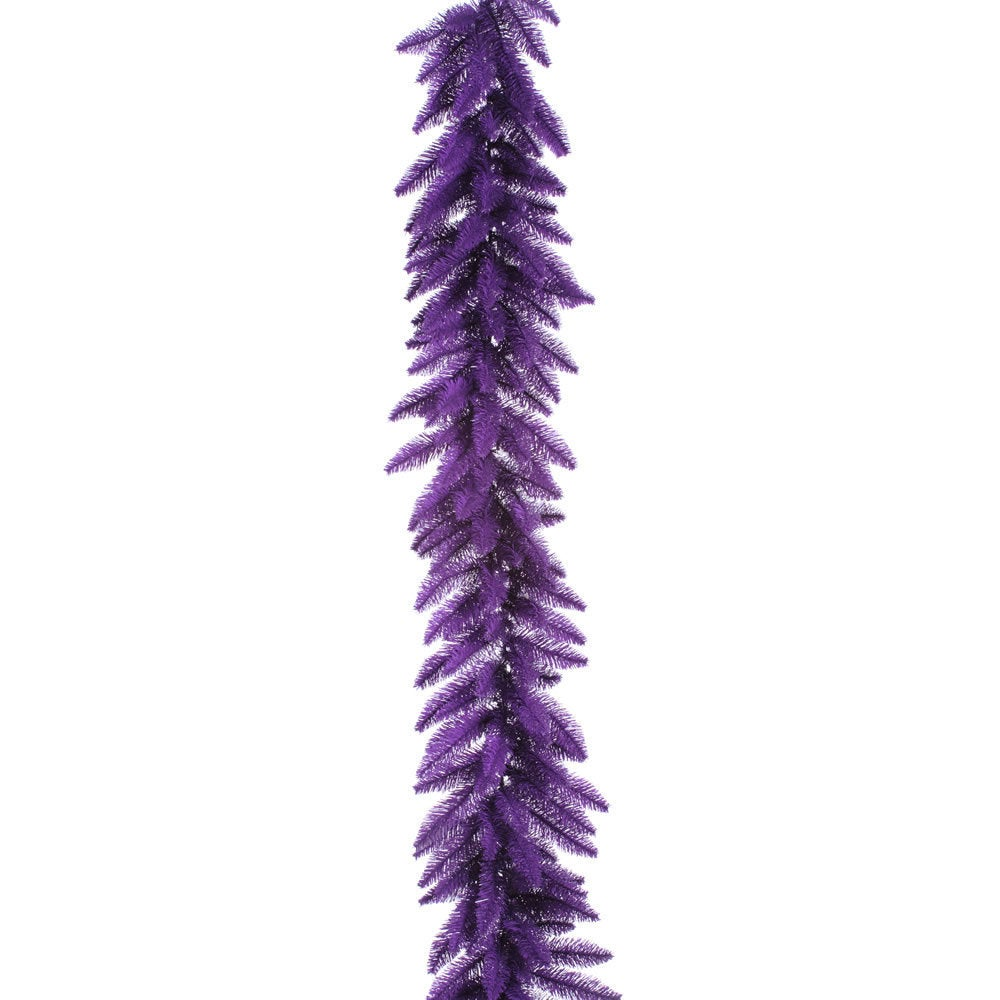 9-foot x 14-inches Purple Garland with 100 Purple LED Lights and 250 Tips (9x14 Purple Garland DL LED 100Prp 250T)