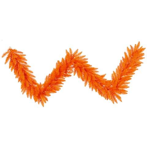 9-foot x 14-inch Orange Fir Garland with 250 Tips