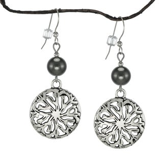 Jewelry by Dawn Hematite Pewter Medallion Earrings