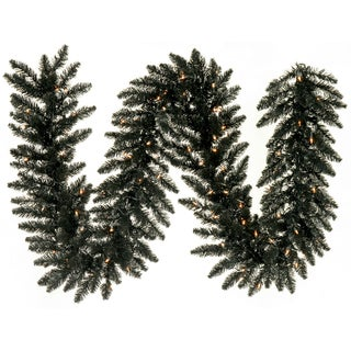 Black 9-foot x 14-inch 250 Tips Garland With 100 Warm White LED Lights