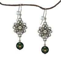 Handmade Jewelry by Dawn Iridescent Green Crystal Pearl Pewter Flower Earrings (USA)
