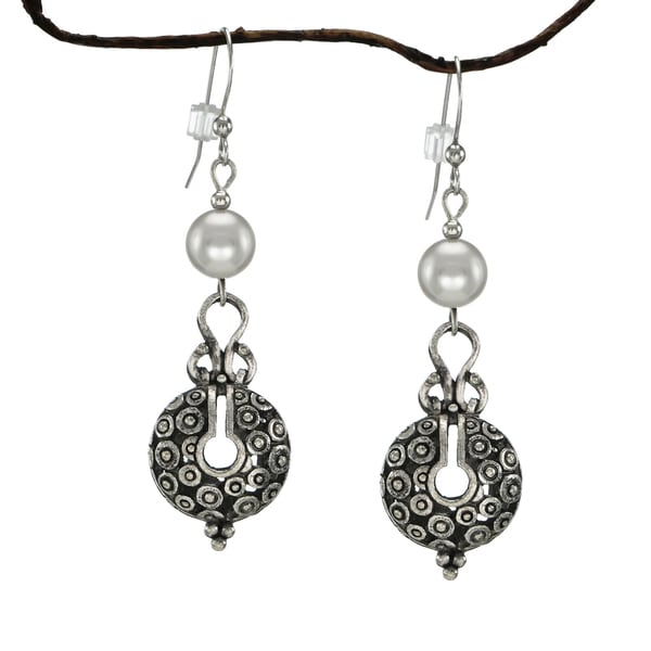 Handmade Jewelry By Dawn Silver Crystal Pearl Vintage Style Pewter Earrings
