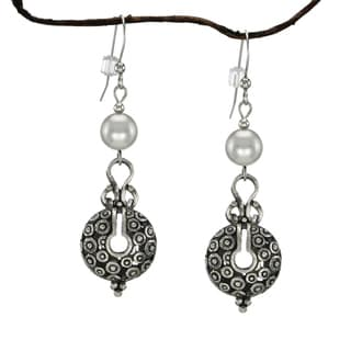 Jewelry by Dawn Silver Crystal Pearl Vintage Style Pewter Earrings