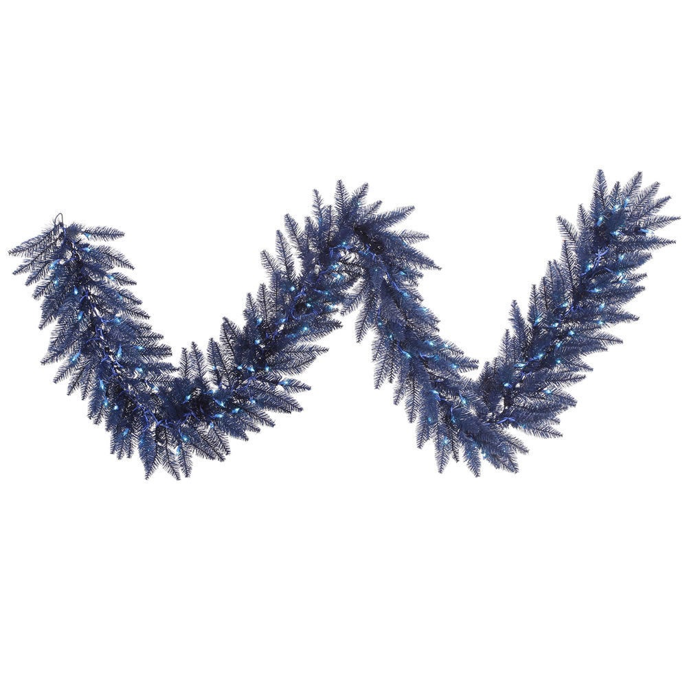 Vickerman Navy Blue Plastic 9-feet x 14-inches Garland With 100 Blue Dura-Lit Lights and 250 Tips (9x14 Navy Blue Garland DL 100BL 250T)