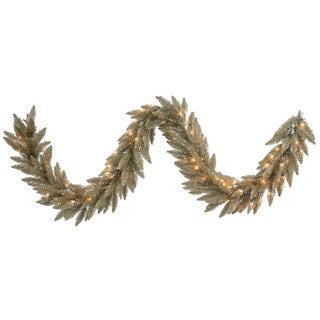 9-foot Antique Champagne Garland with 100 Clear DuraLit Lights