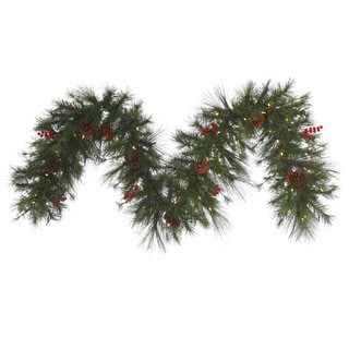 9-foot x 18-inch Cascade Garland with 100 Warm White LED Lights