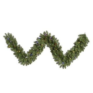 Grand Teton Green Plastic 9-foot x 18-inch Garland with 100 Multi-Colored LED Lights