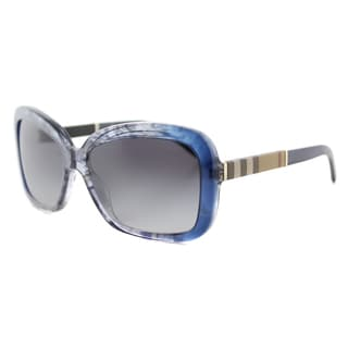 Burberry BE 4173 36138G Smokey Blue Plastic Rectangle Brown Gradient Lens Sunglasses