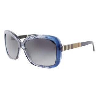 Burberry BE 4173 36138G Smokey Blue Plastic Rectangle Brown Gradient Lens Sunglasses