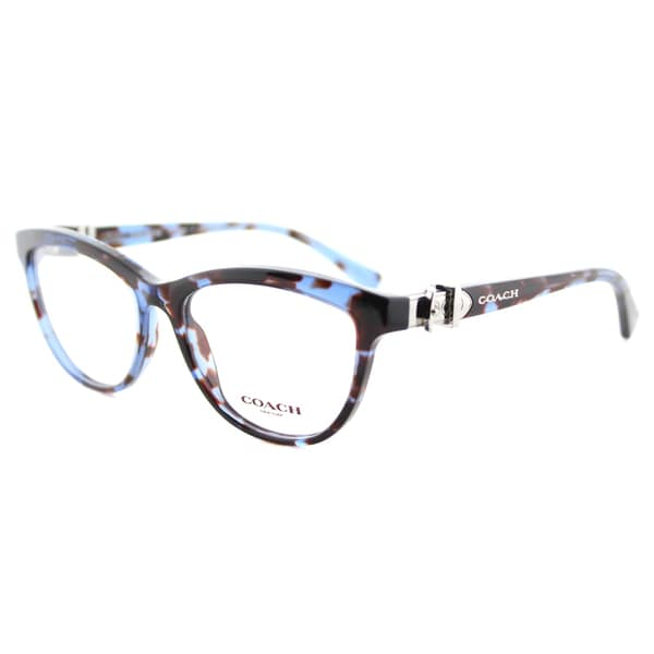 Shop Coach HC 6087 5392 Blue Tortoise Plastic Cat-Eye Eyeglasses ...