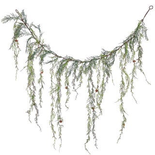 4-inch Weeping Cedar Green Plastic Garland with Cones and 189 Tips